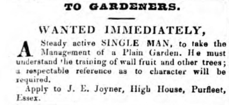 1840.11.13 wanted gardener at High House, Chelmsford Chronicle