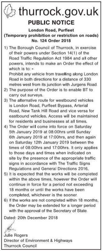 18.12.20 pn 124 london rd, jurgens rd traffic restrictions