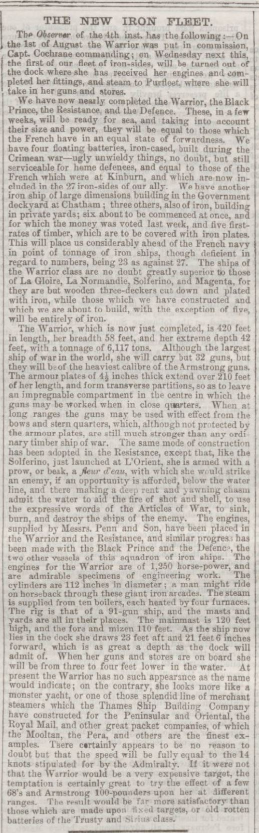 1861.08.10 hms warrior calls in at purfleet to collect guns and stores, kentish chronicle