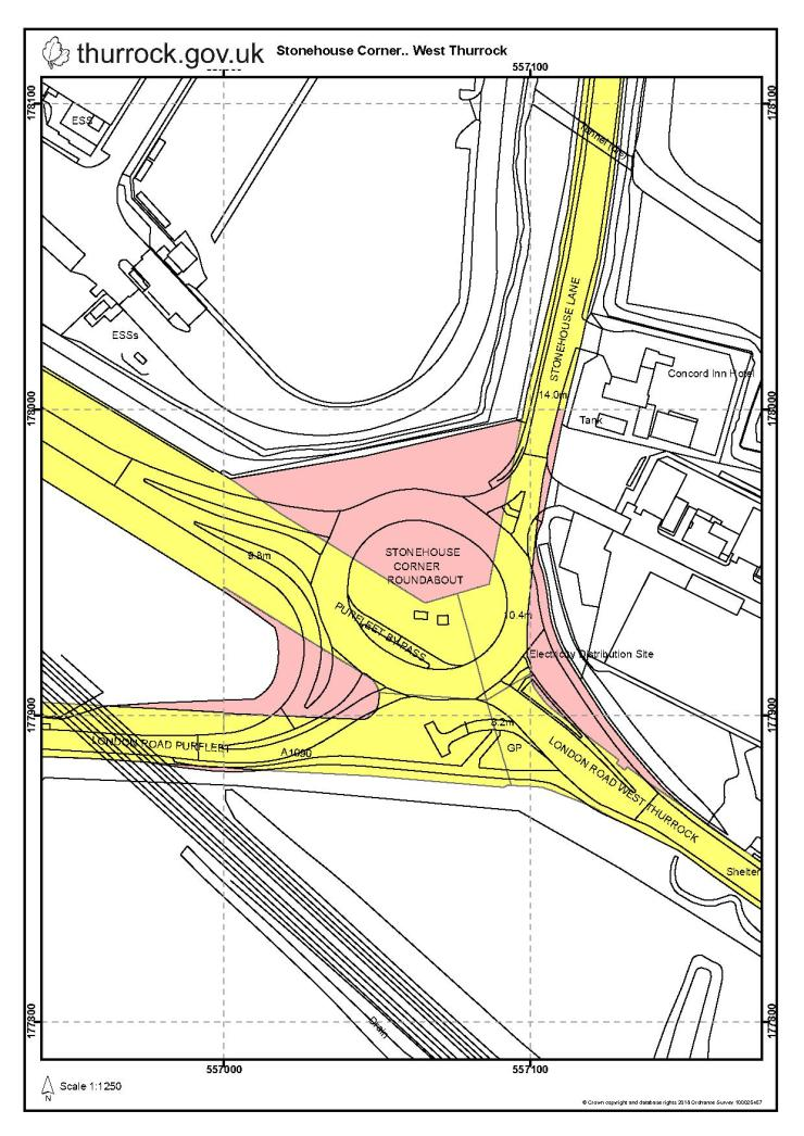 19.01.11 public notice land at stonehouse roundabout & london rd w. thurrock, map