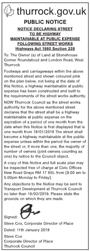 19.01.11 public notice land at stonehouse roundabout & london rd w. thurrock