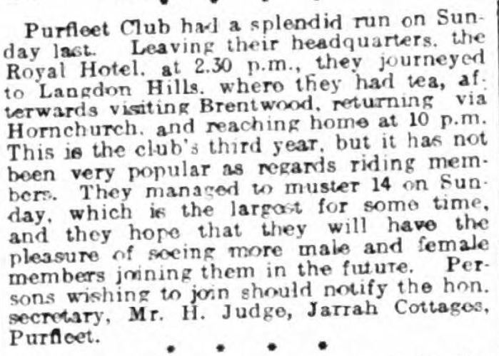 1908.05.16 purfleet cycle club, grays & tilbury gazette, and southend telegraph
