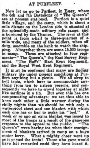 1914.10.10 15,000 troops at purfleet , surrey advertiser