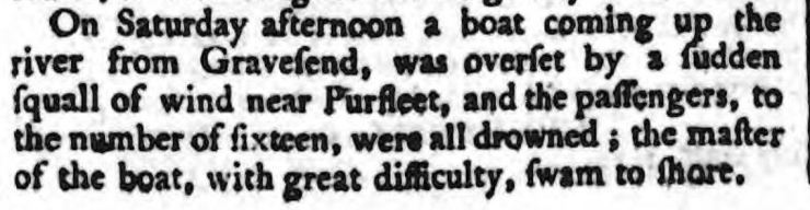 1772.07.25 sixteen drown in a squall, Oxford Journal