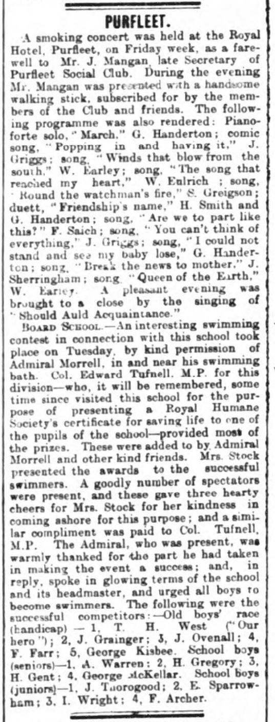 1901.08.10 Smoking concert at The Royal, Grays & Tilbury Gazette, and Southend Telegraph