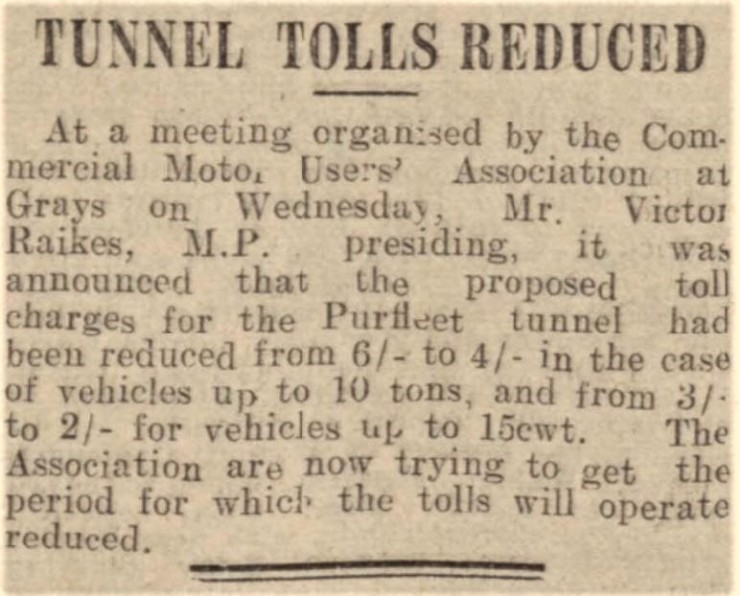 1937.04.30 reduction of tunnel toll charges, Chelmsford Chronicle