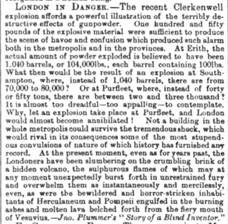 1868.05.23 potential explosion at Purfleet, Halifax Courier