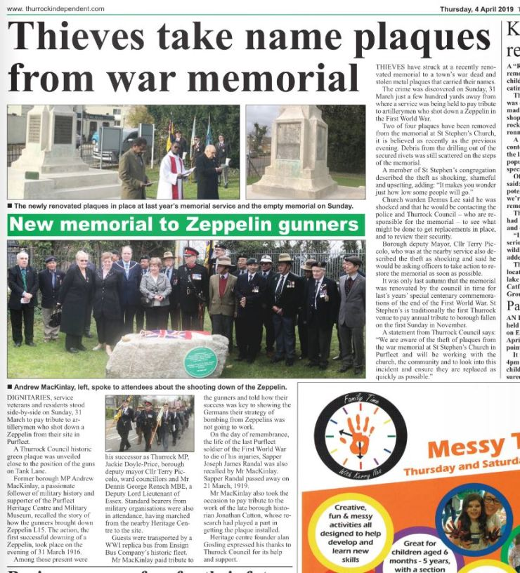 19.04.04 Thieves steal memorial plaques & tribute to Zeppelin gunners, Thurrock Independent