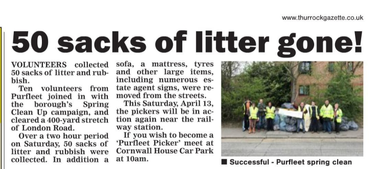 19.04.11 Picker collect 50 x bags rubbish, Thurrock Gazette