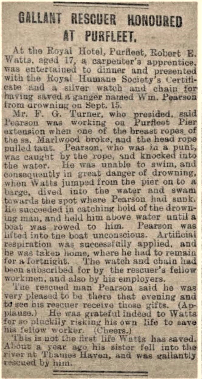 1912.01.20 gallant rescue at Purfleet, Essex Newsman
