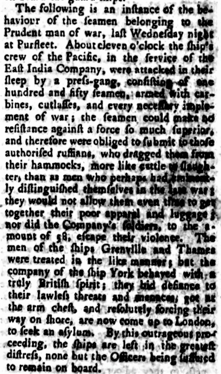 1771.01.03 Attack on East India Co ships, Stamford Mercury