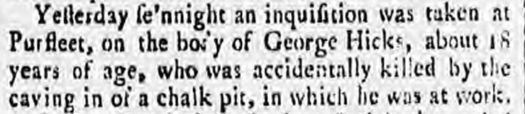 1789.01.24 inquest on George Hicks killed by caving in chalk pit, Ipswich Journal