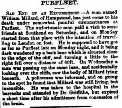 1882.08.19 death of an excursionist, Gravesend Reporter, North Kent and South Essex Advertiser