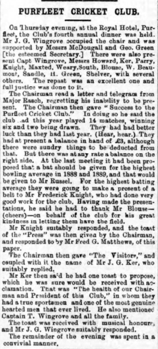 1889.11.16 Purfleet Cricket Club, Grays & Tilbury Gazette, and Southend Telegraph