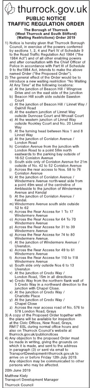 19.06.20 Public Notice Order, Beacon Hill area