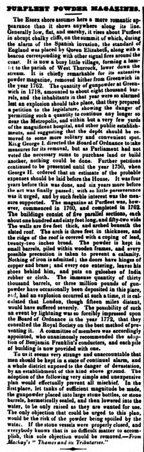 1841.03.30 Purfleet Powder Magazine, Essex Herald