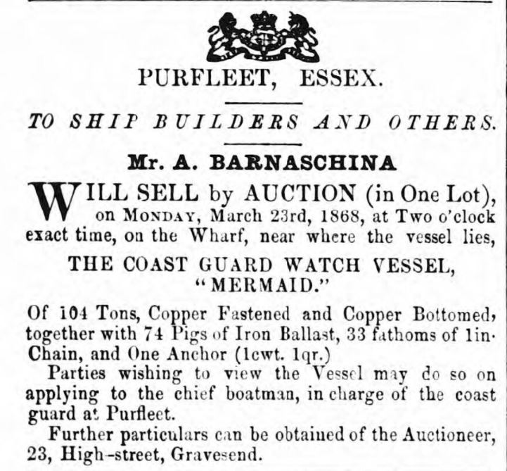 1868.03.21 sale of coast watch vessel - Mermaid, Gravesend Reporter, North Kent and South Essex Advertiser
