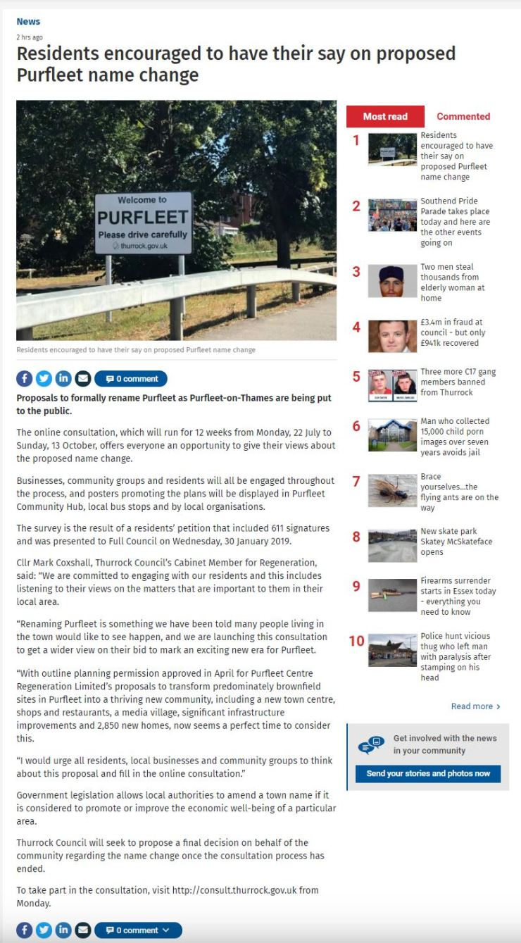 19.07.20 consultation for name change to Purfleet-on-Thames, Thurrock Gazette