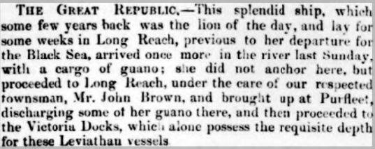 1858.01.23 The Great Republic ship, Gravesend Reporter, North Kent and South Essex Advertiser