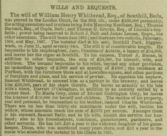 1867.08.10 will of William Henry Whitbread, Illustrated London News