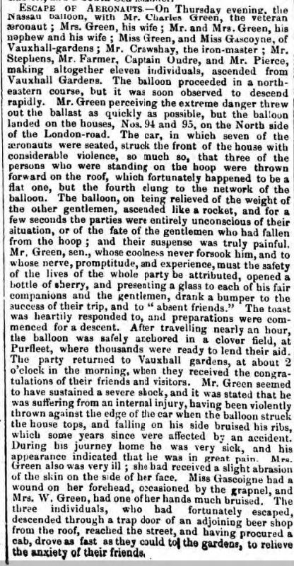 1849.08.01 assent of Nassau Balloon,  Bury and Norwich Post