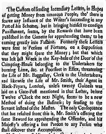 1754.09.06 blackmail of the undertakers of Lime &c, DerbyMercury