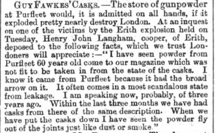 1864.11.12 Guy Fawkes casks, the Purfleet broad arrow, Glasgow Saturday Post, and Paisley and Renfrewshire Reformer