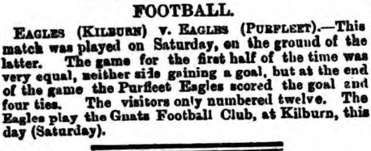 1877.11.10 Purfleet Eagles, football team, Kilburn Times