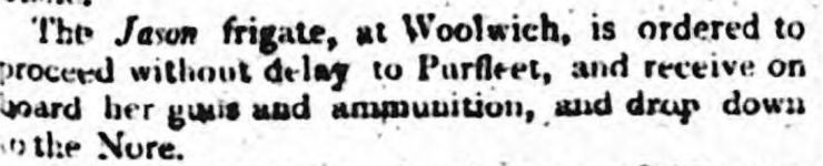 1804.12.17 frigate Jason ordered to take on ammunition & guns, Evening Mail