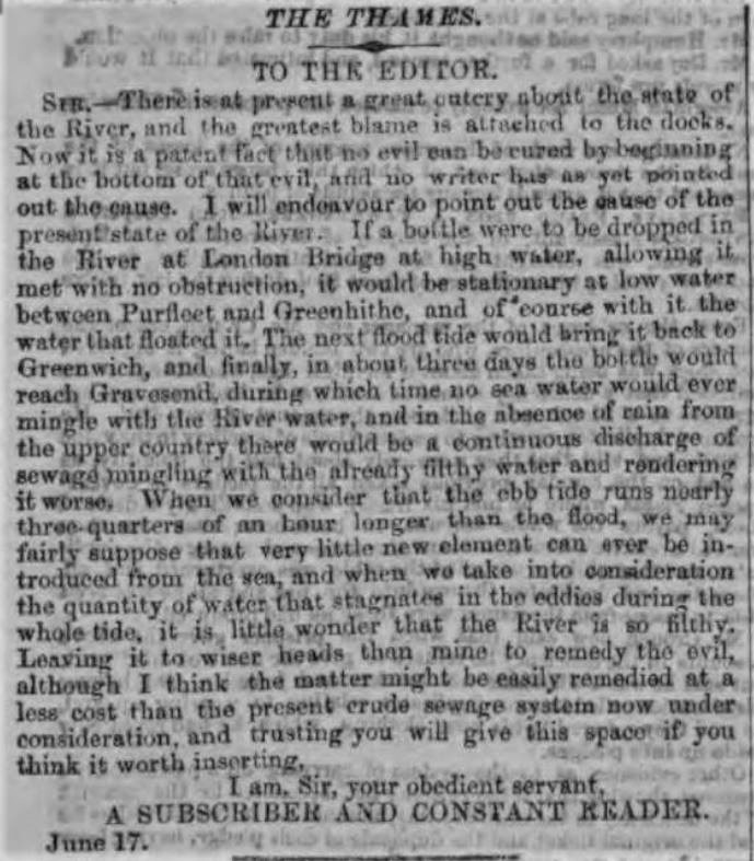1858.06.21 the state of the Thames, London Evening Standard