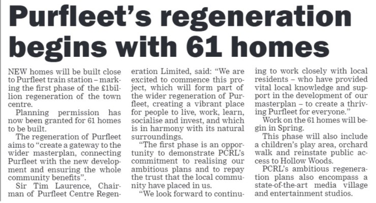 20.01.16 Purfleet regeneration begins,, Thurrock Gazette