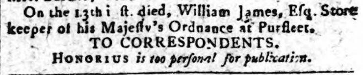 1794.12.23 store keeper of HM Ordnance died, Kentish Weekly Post or Canterbury Journal