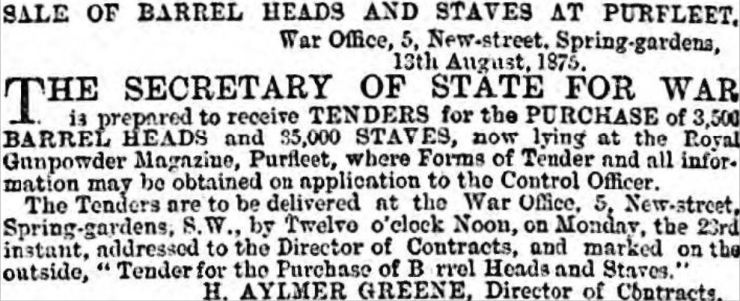 1875.08.17 sale of barrell heads & staves at Royal Gunpowder Magazine, The Globe