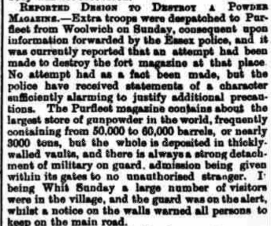 1882.06.02 attempt to blow up the World's largest gunpowder store, Otley News & West Riding Advertiser