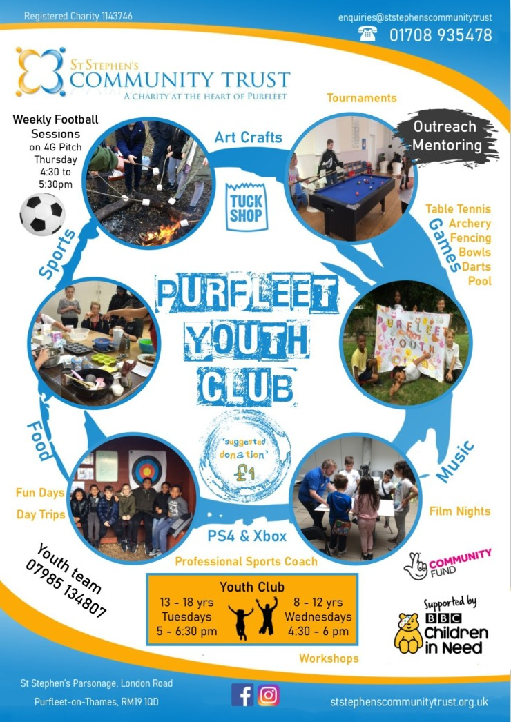 St Stephens community trust youth club flyer, b v9