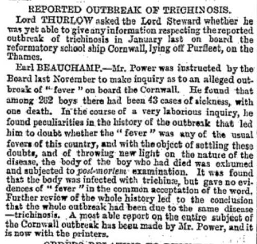 1880.03.23 Outbreak of Trichinosis on TS Cornwall, The Times