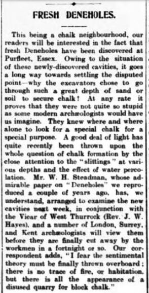 1908.05.02 fresh deneholes at Purfleet, Gravesend Reporter, North Kent and South Essex Advertiser