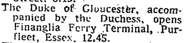 1975.03.11 Duke & Duchess of Gloucester open Finanglia's ferry terminal, The Times