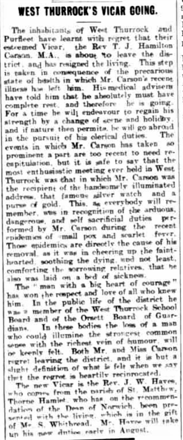 1902.07.05 Rev Hayes is new vicar, Grays & Tilbury Gazette