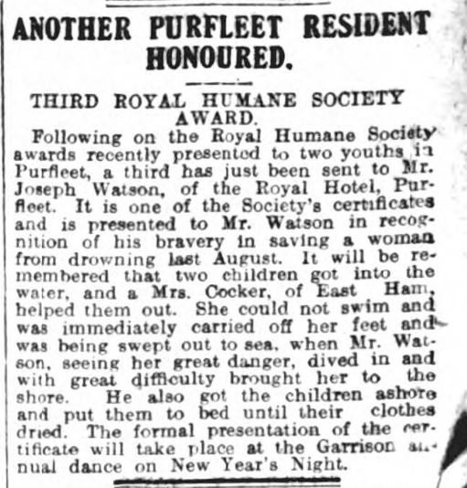 1908.12.24 Joe Watson from the Royal Hotel honoured by Humane Society, Grays & Tilbury Gazette, and Southend Telegraph
