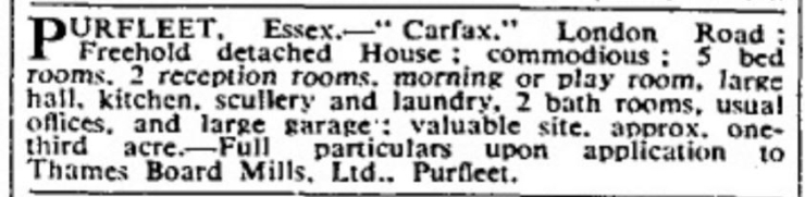 1938.12.02 sale of Carfax by TBM, The Times