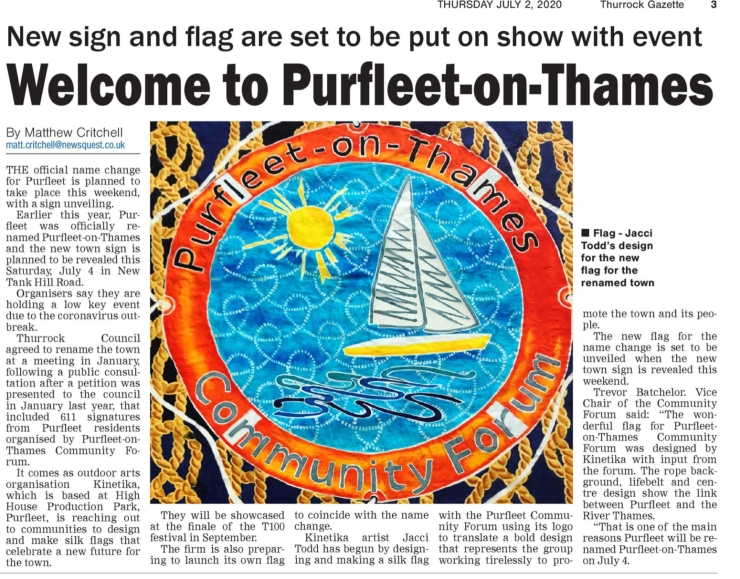 20.07.02 name change & POTCF Kinetika flag, Thurrock Gazette