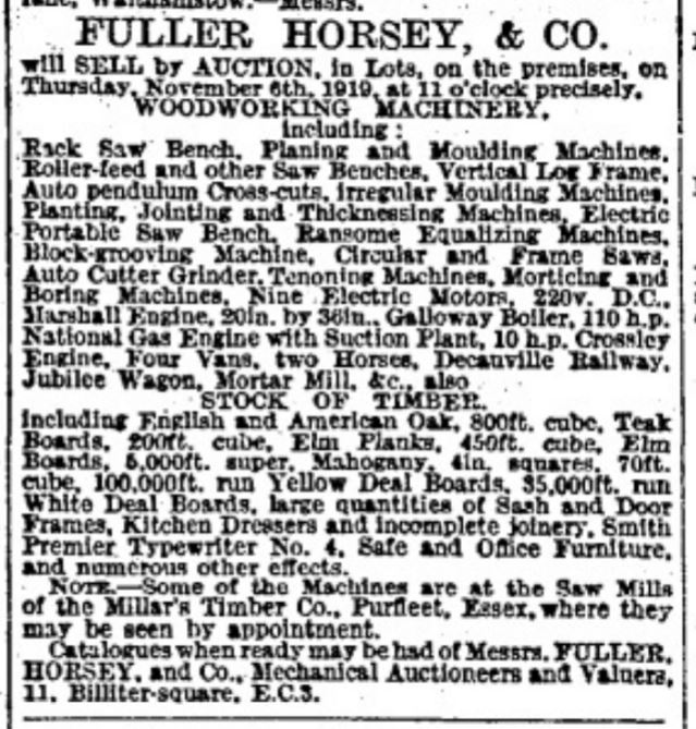 1919.10.25 auction, ref Millars Timber Purfleet, The Times