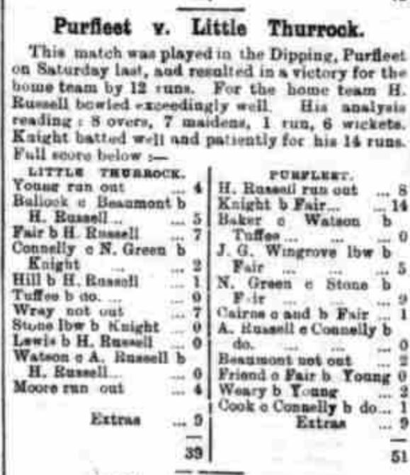 1889.08.10 Purfleet cricket, Grays & Tilbury Gazette