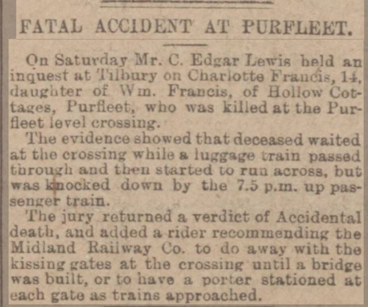 1913.03.08 death at Purfleet crossing, Charlotte Francis, Essex Newsman