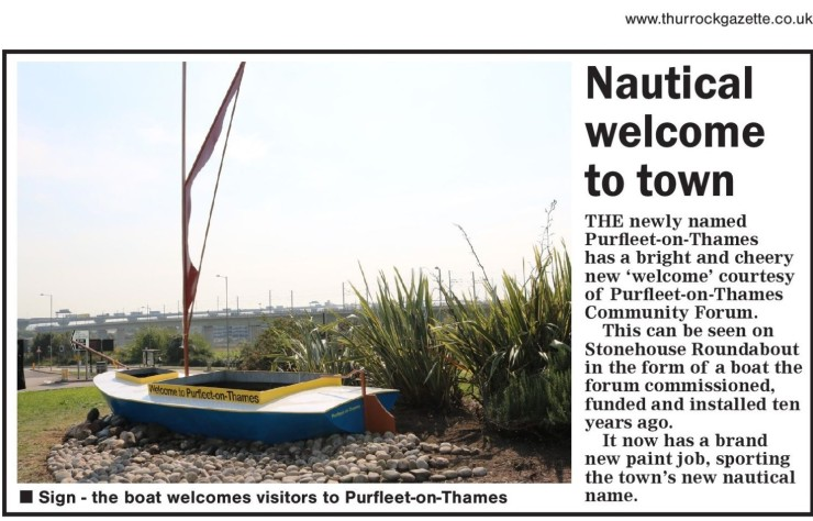 20.09.18 ne welcome to PoT, Thurrock Gazette
