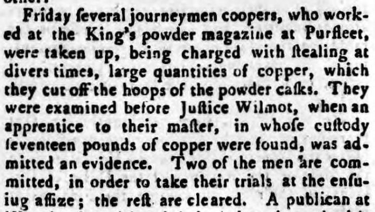 1774.06.22 several jouneyman coopers charged with copper theft, Kentish Gazette