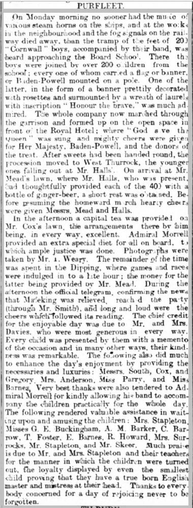 1900.05.26 Cornwall boys day out, Grays & Tilbury Gazette, and Southend Telegraph